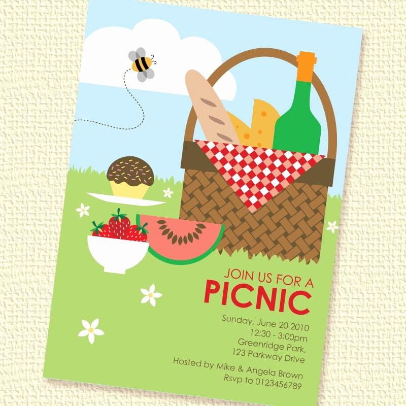Free Printable Picnic Invitation Template New Picnic Basket Printable Custom Personalized Invitation