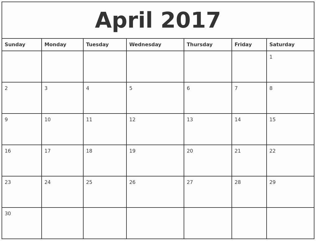 Free Printable Quarterly Calendar 2017 Inspirational April 2017 Printable Monthly Calendar