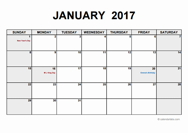 Free Printable Quarterly Calendar 2017 Lovely 2017 Monthly Calendar Pdf Free Printable Templates