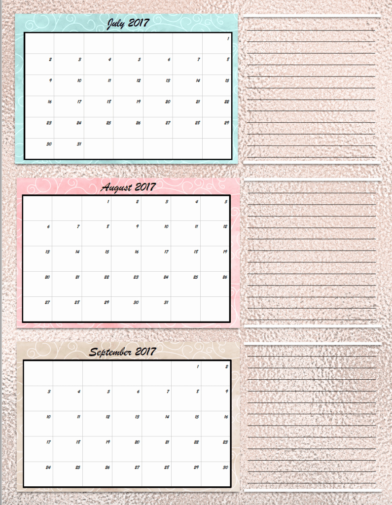 Free Printable Quarterly Calendar 2017 Lovely Free Printable 2017 Quarterly Calendars 2 Different Designs