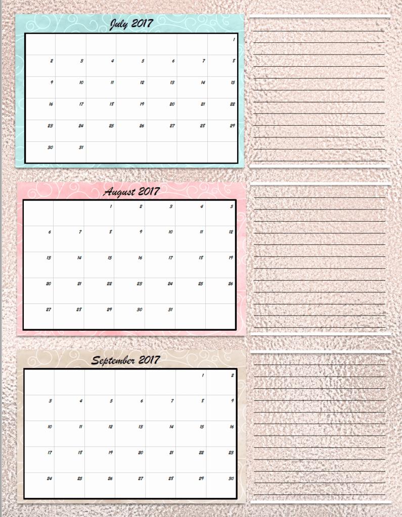 Free Printable Quarterly Calendar 2017 Lovely Free Printable 2017 Quarterly Calendars 2 Different Designs