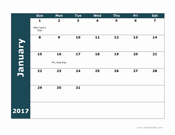 Free Printable Quarterly Calendar 2017 New 2017 Monthly Calendar Template 18 Free Printable Templates