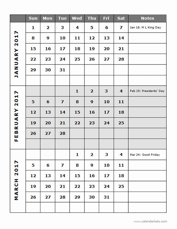 Free Printable Quarterly Calendar 2017 New 2017 Quarterly Calendar Template 14p Free Printable