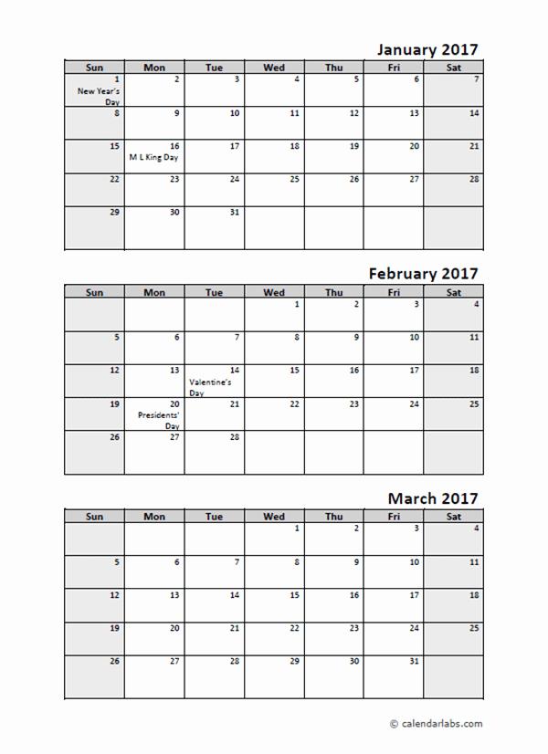 Free Printable Quarterly Calendar 2017 New 2017 Quarterly Calendar with Holidays Free Printable