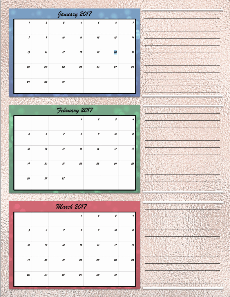 Free Printable Quarterly Calendar 2017 New Free Printable 2017 Quarterly Calendars 2 Different Designs