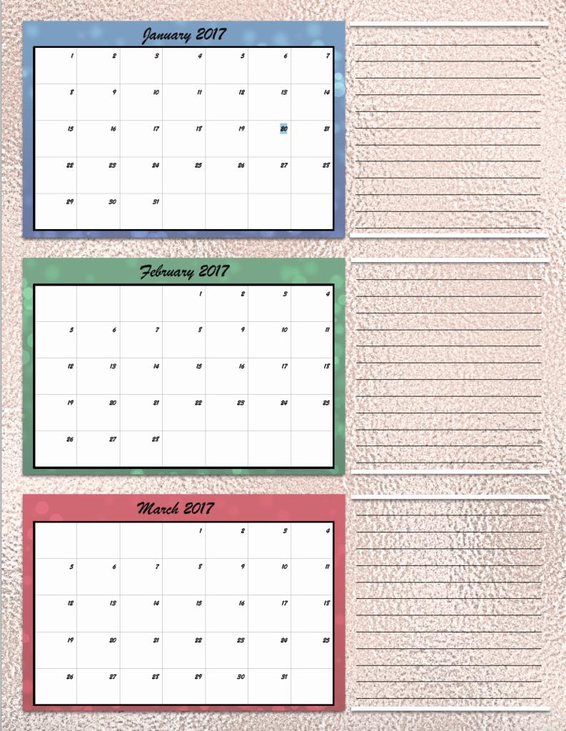 Free Printable Quarterly Calendar 2017 New Free Printable 2017 Quarterly Calendars 2 Different Designs