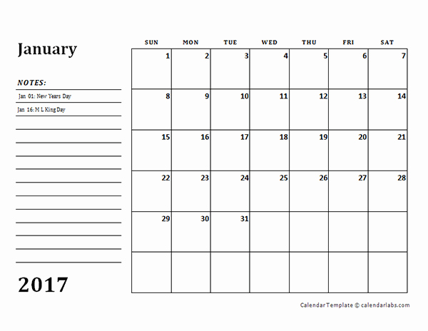 Free Printable Quarterly Calendar 2017 Unique 2017 Monthly Calendar Template with Notes Free Printable
