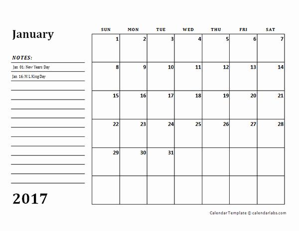 Free Printable Quarterly Calendar 2017 Unique 2017 Monthly Calendar Template with Notes Free Printable
