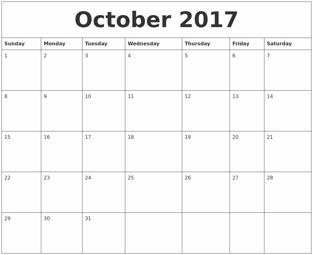Free Printable Quarterly Calendar 2017 Unique October 2017 Free Printable Monthly Calendar