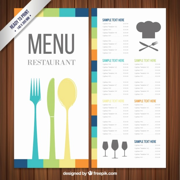 Free Printable Restaurant Menu Templates Beautiful Colorful Menu Template Vector