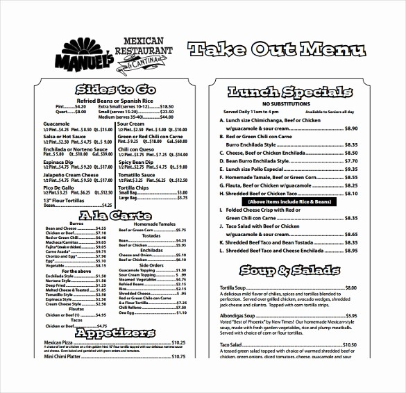 Free Printable Restaurant Menu Templates Elegant 20 Take Out Menu Templates – Free Sample Example format
