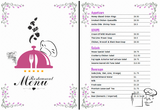 Free Printable Restaurant Menu Templates Elegant 21 Free Free Restaurant Menu Templates Word Excel formats