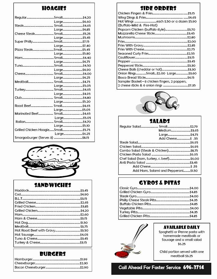 Free Printable Restaurant Menu Templates Elegant Box Lunch Menu Template