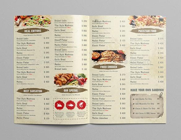 Free Printable Restaurant Menu Templates Elegant Restaurant Menu Template 33 Free Psd Eps Documents