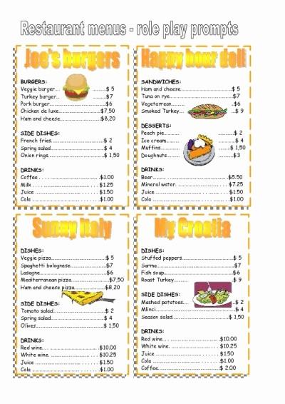 Free Printable Restaurant Menu Templates Inspirational 4 Best Of Free Printable Template Restaurant Menus