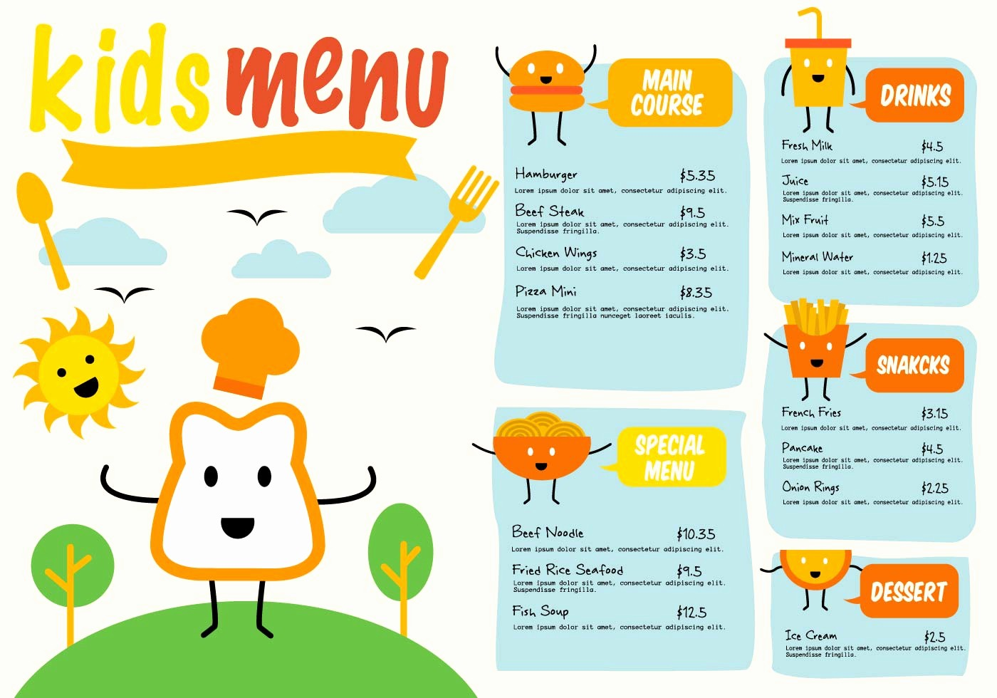 Free Printable Restaurant Menu Templates Lovely Free Template Kids Menu Vector Download Free Vector Art