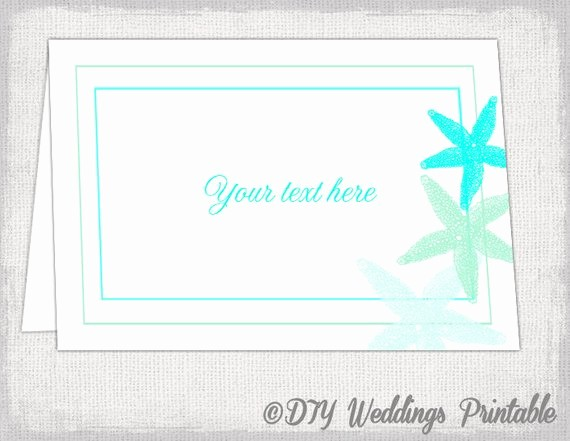 Free Printable Table Tent Cards Inspirational Beach Table Card Template Starfish Printable