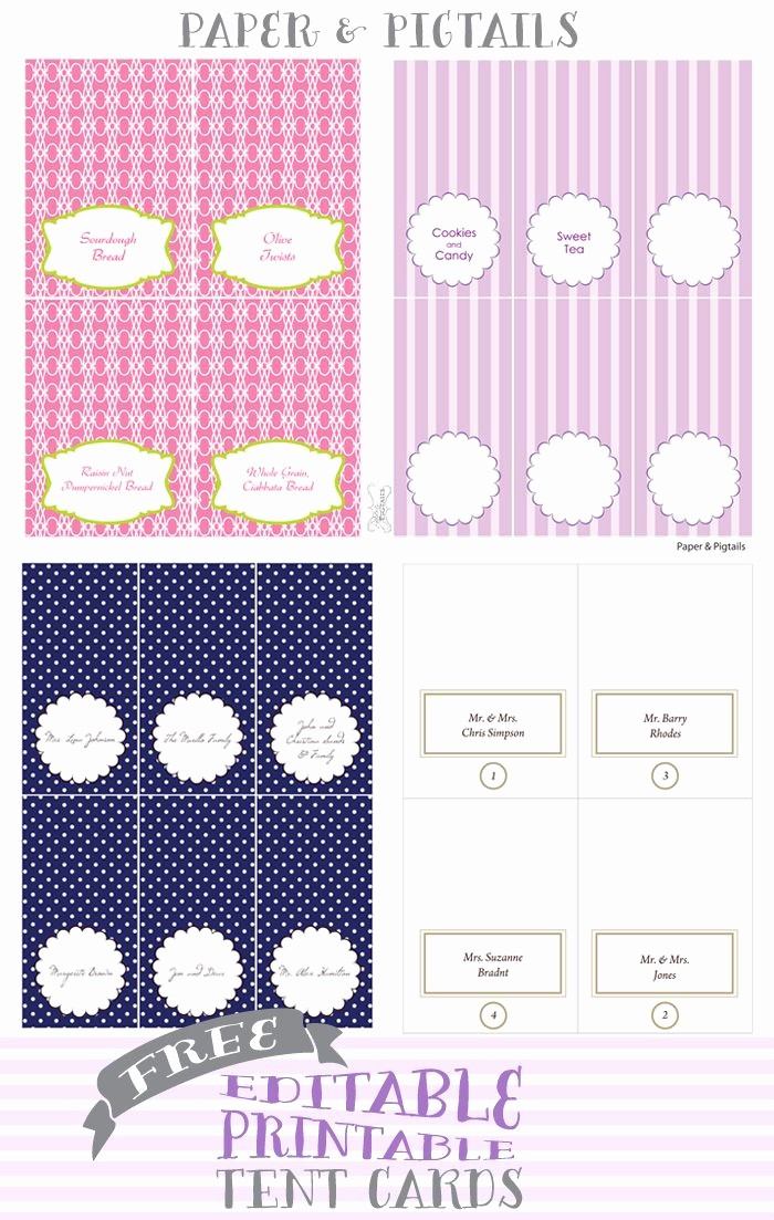 Free Printable Table Tent Cards Unique Paper & Pigtails Free Printable Tent Cards