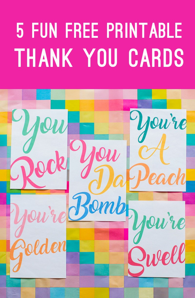 Free Printable Thank You Certificates Awesome 5 Fun Free Printable Thank You Cards In A Modern Colourful