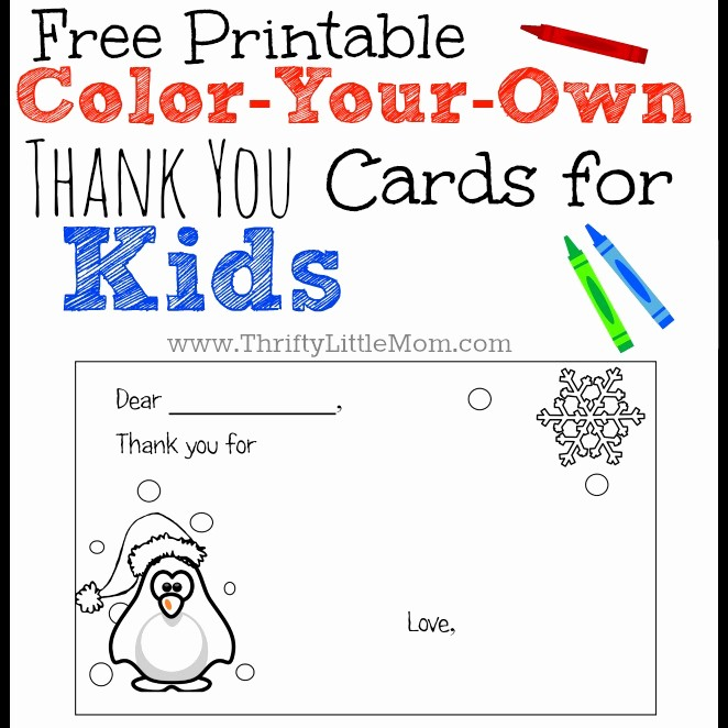 Free Printable Thank You Certificates Awesome Color Your Own Printable Thank You Cards for Kids