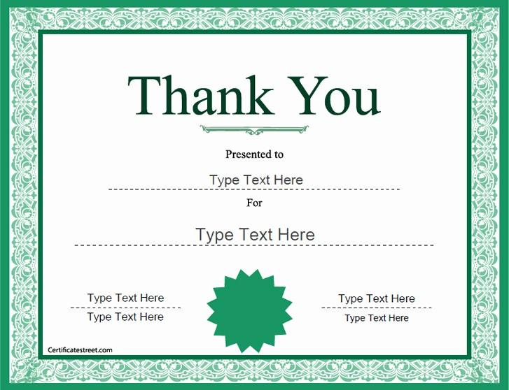 Free Printable Thank You Certificates Beautiful Thank You Certificate Template