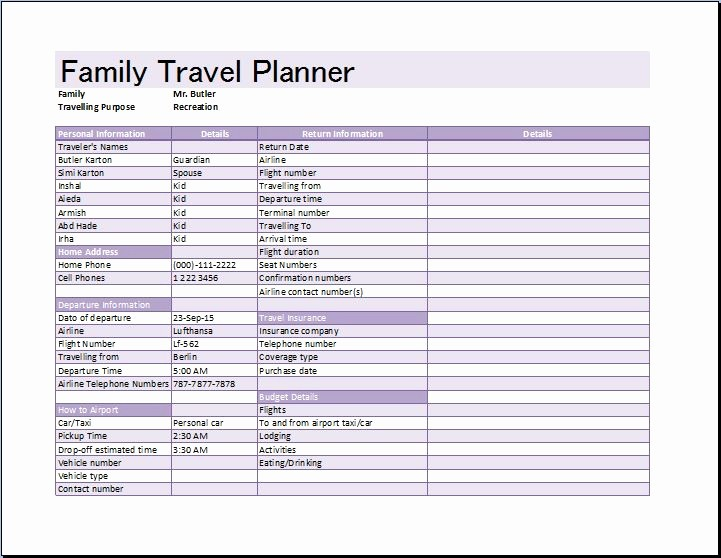 Free Printable Vacation Planner Template Awesome Family Vacation
