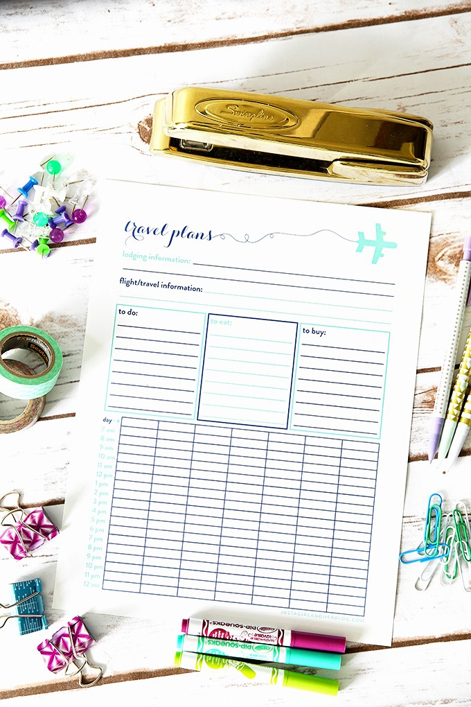 Free Printable Vacation Planner Template Beautiful Free Travel Plans Printable Just A Girl and Her Blog