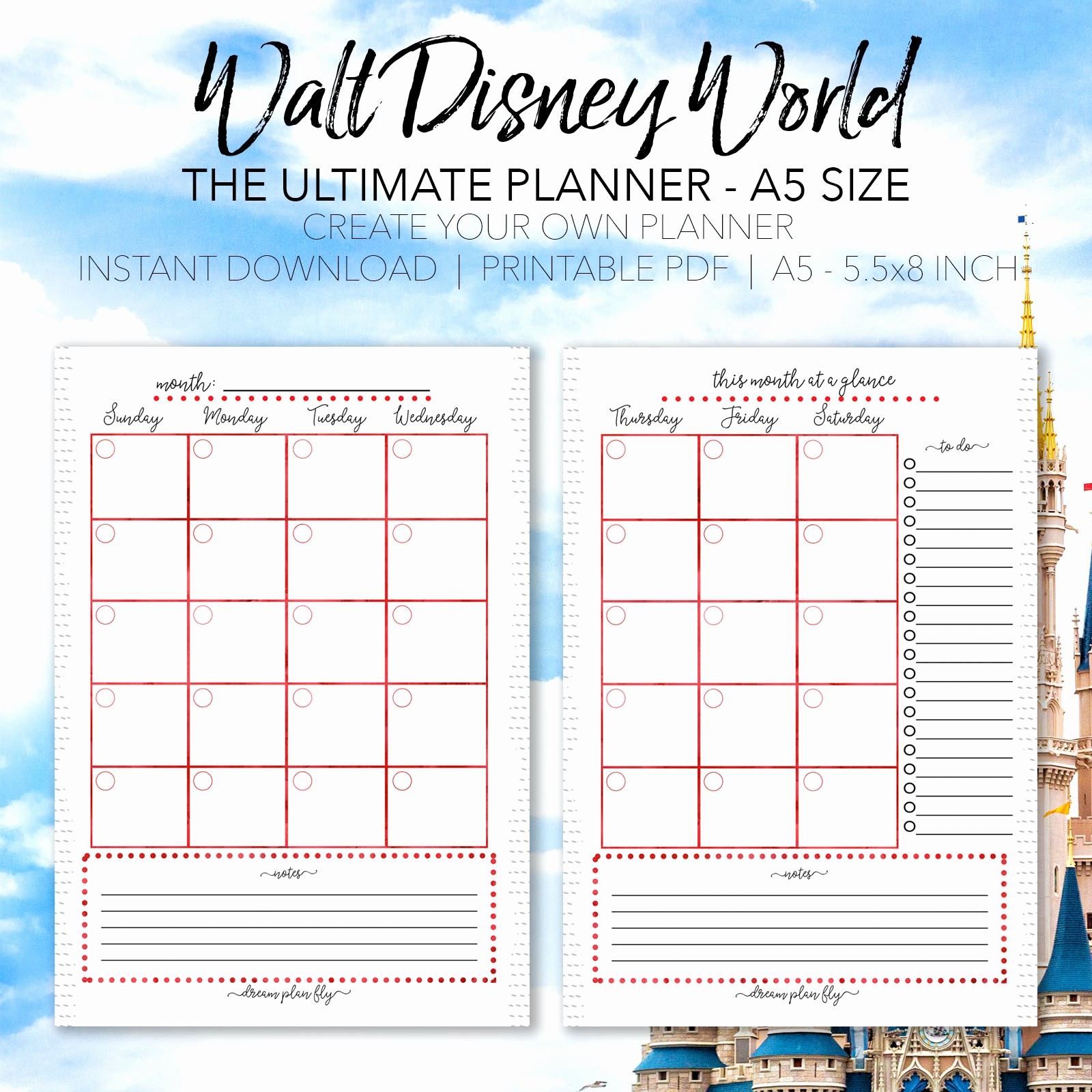 Free Printable Vacation Planner Template Elegant Ultimate Walt Disney World Vacation Planner A5 Size