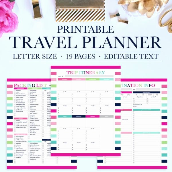 Free Printable Vacation Planner Template Fresh Travel Planner Printable – Jessica Marie Design