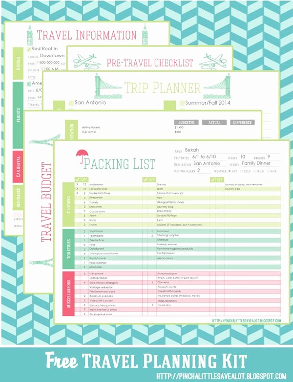 Free Printable Vacation Planner Template Lovely Free Travel Planning Kit Pinch A Little Save A Lot