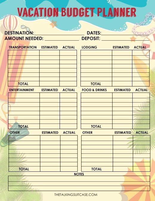 Free Printable Vacation Planner Template Luxury Travel Bud Worksheet