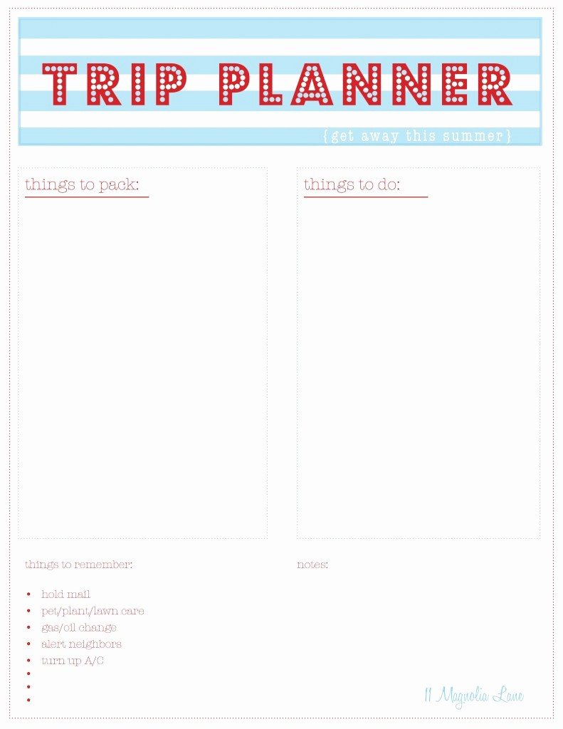 Free Printable Vacation Planner Template New 8 Best Of Printable Trip Planner Free Printable
