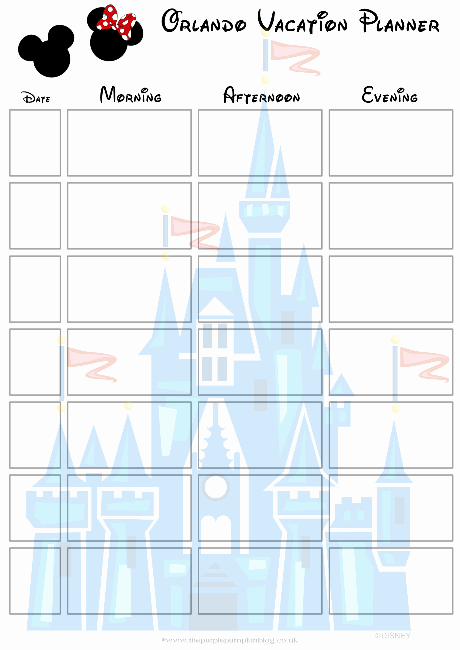Free Printable Vacation Planner Template New orlando Walt Disney World Vacation Planner