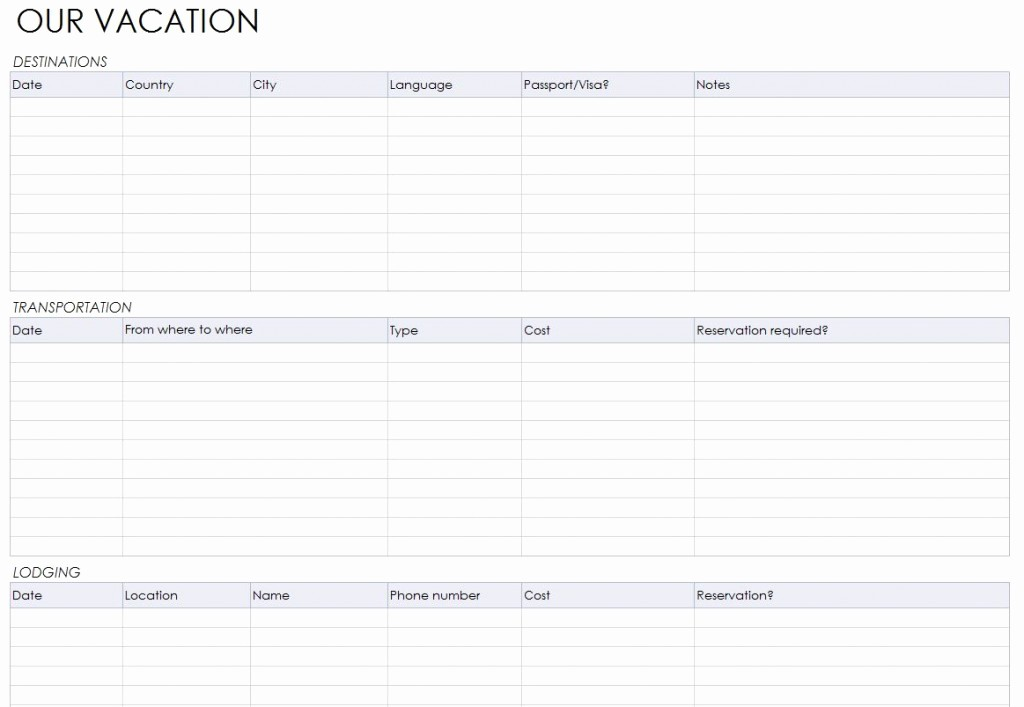 Free Printable Vacation Planner Template New Vacation Itinerary Planner