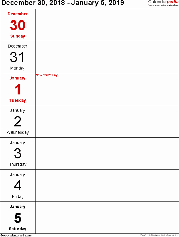 Free Printable Weekly Calendar 2019 Beautiful Weekly Calendar 2019 for Word 12 Free Printable Templates