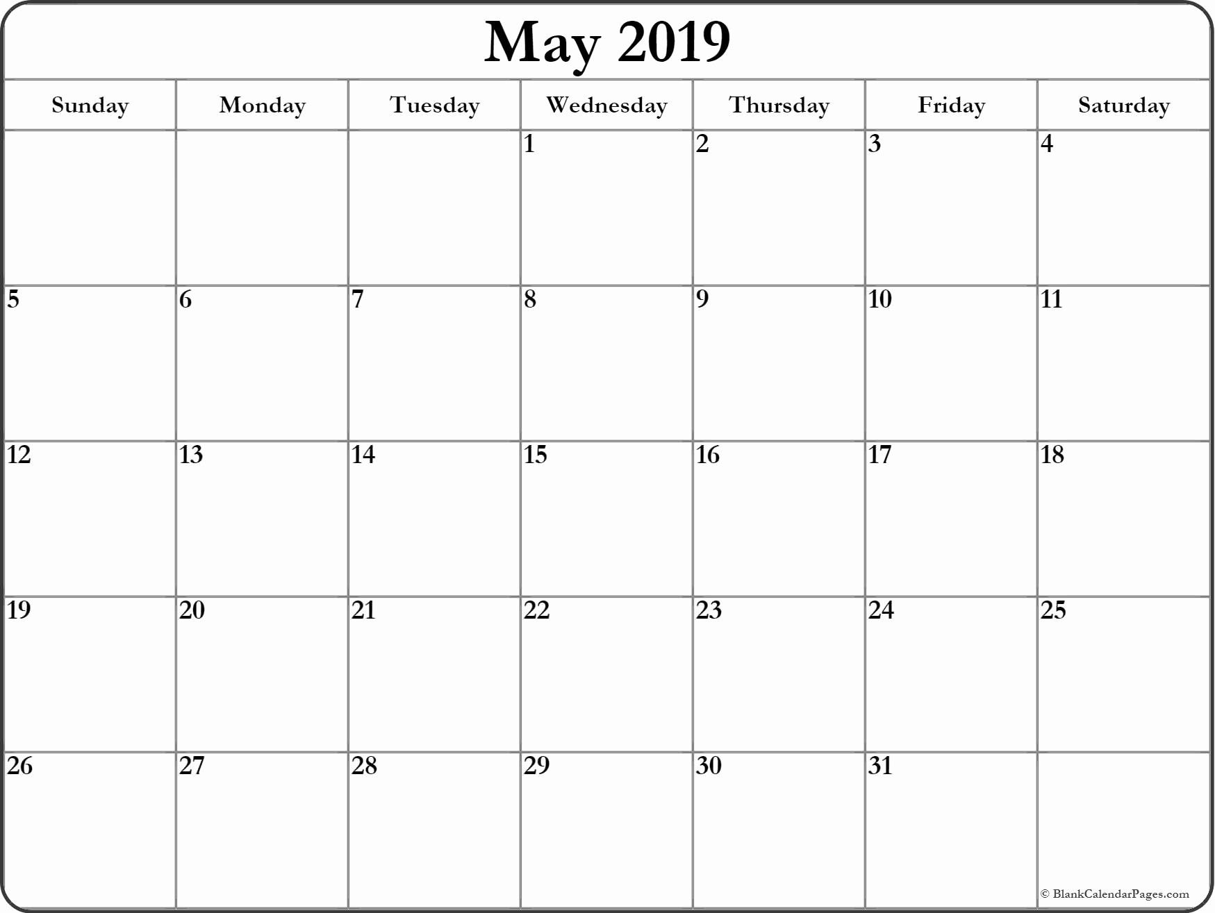 Free Printable Weekly Calendar 2019 Best Of May 2019 Blank Calendar Templates