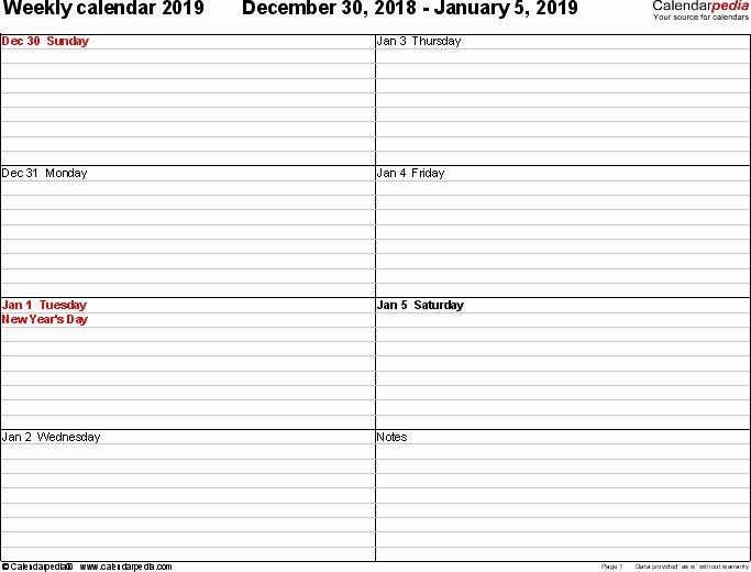 Free Printable Weekly Calendar 2019 Best Of Weekly Calendar 2019 for Pdf 12 Free Printable Templates
