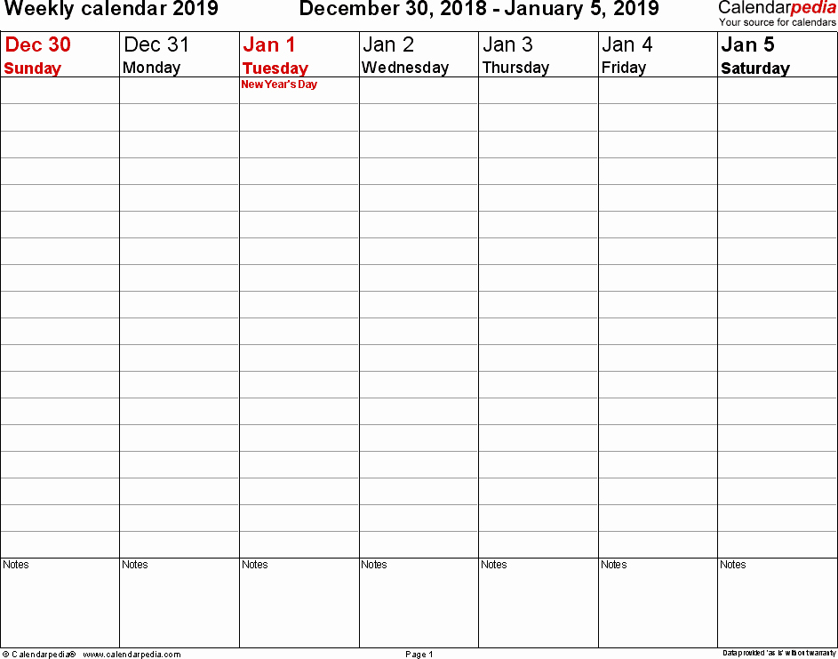 Free Printable Weekly Calendar 2019 Best Of Weekly Calendar 2019 for Pdf 12 Free Printable Templates