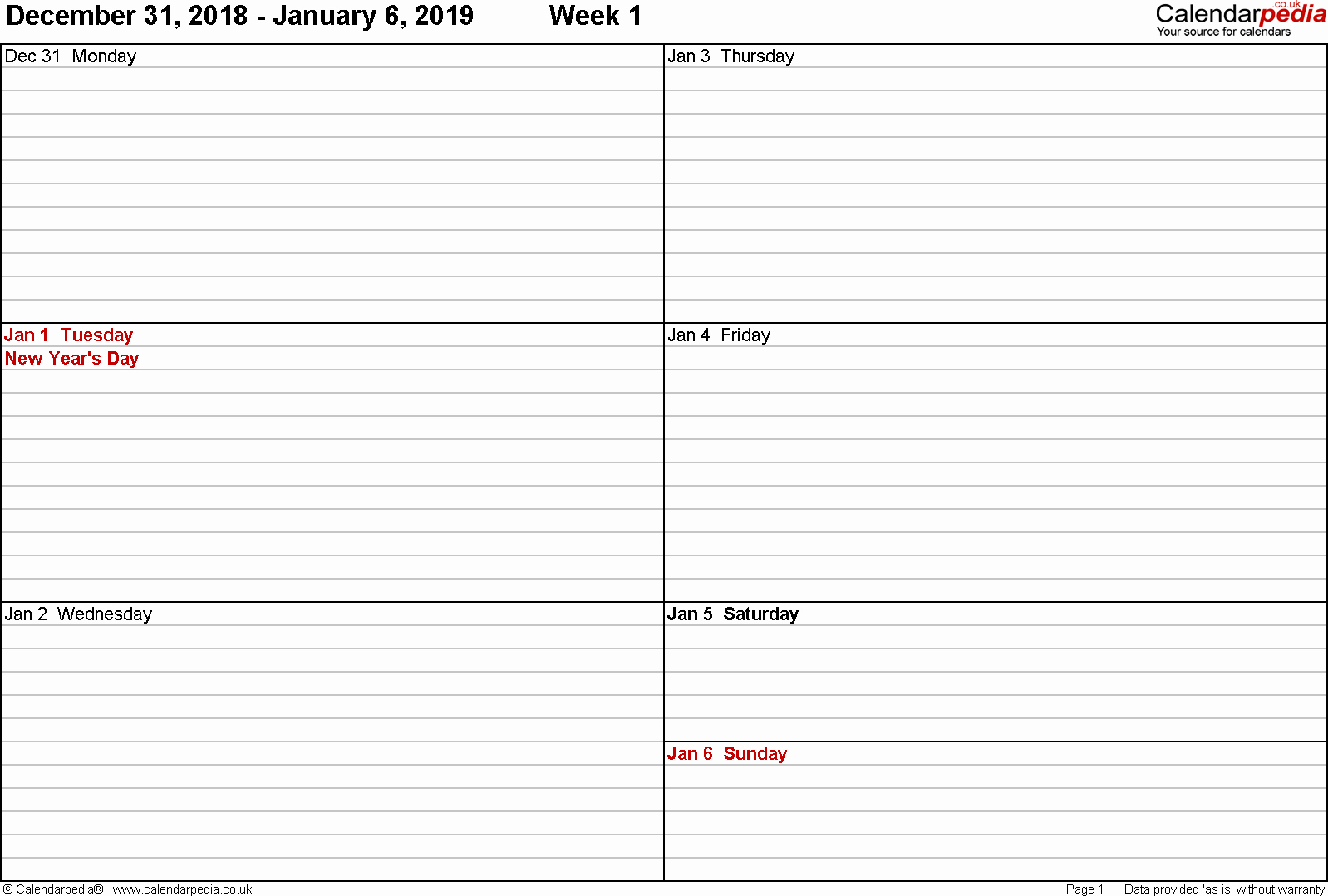 Free Printable Weekly Calendar 2019 Best Of Weekly Calendar 2019 Uk Free Printable Templates for Pdf