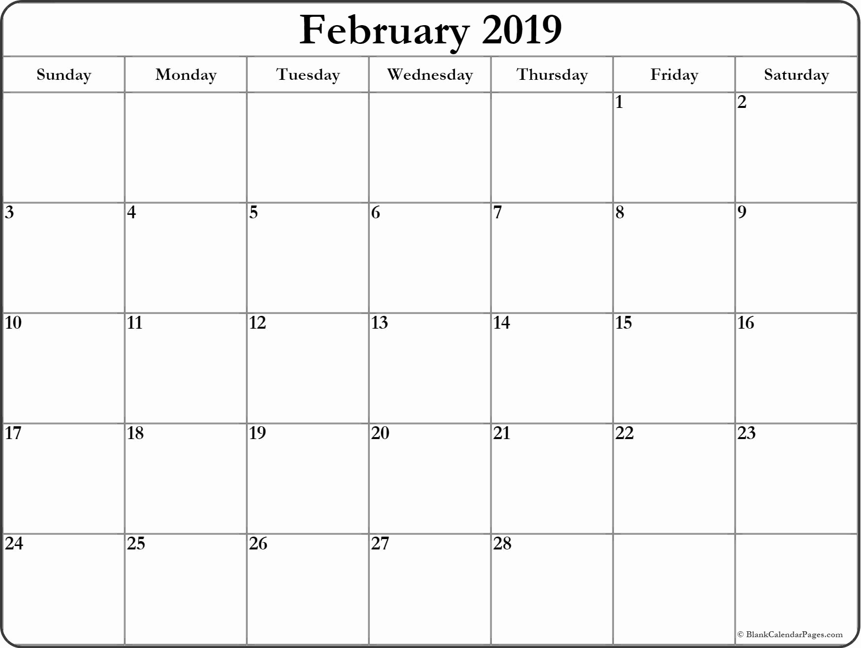 Free Printable Weekly Calendar 2019 Fresh February 2019 Blank Calendar Templates