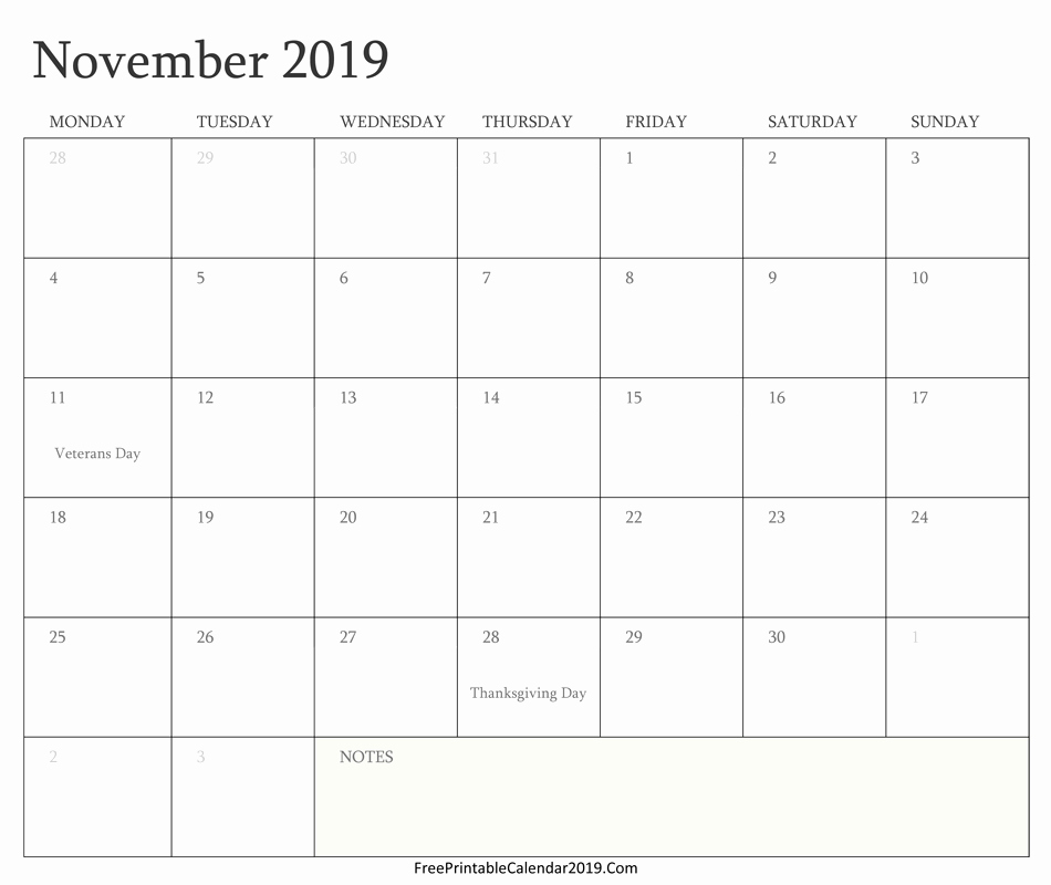 Free Printable Weekly Calendar 2019 Fresh November 2019 Calendar Templates