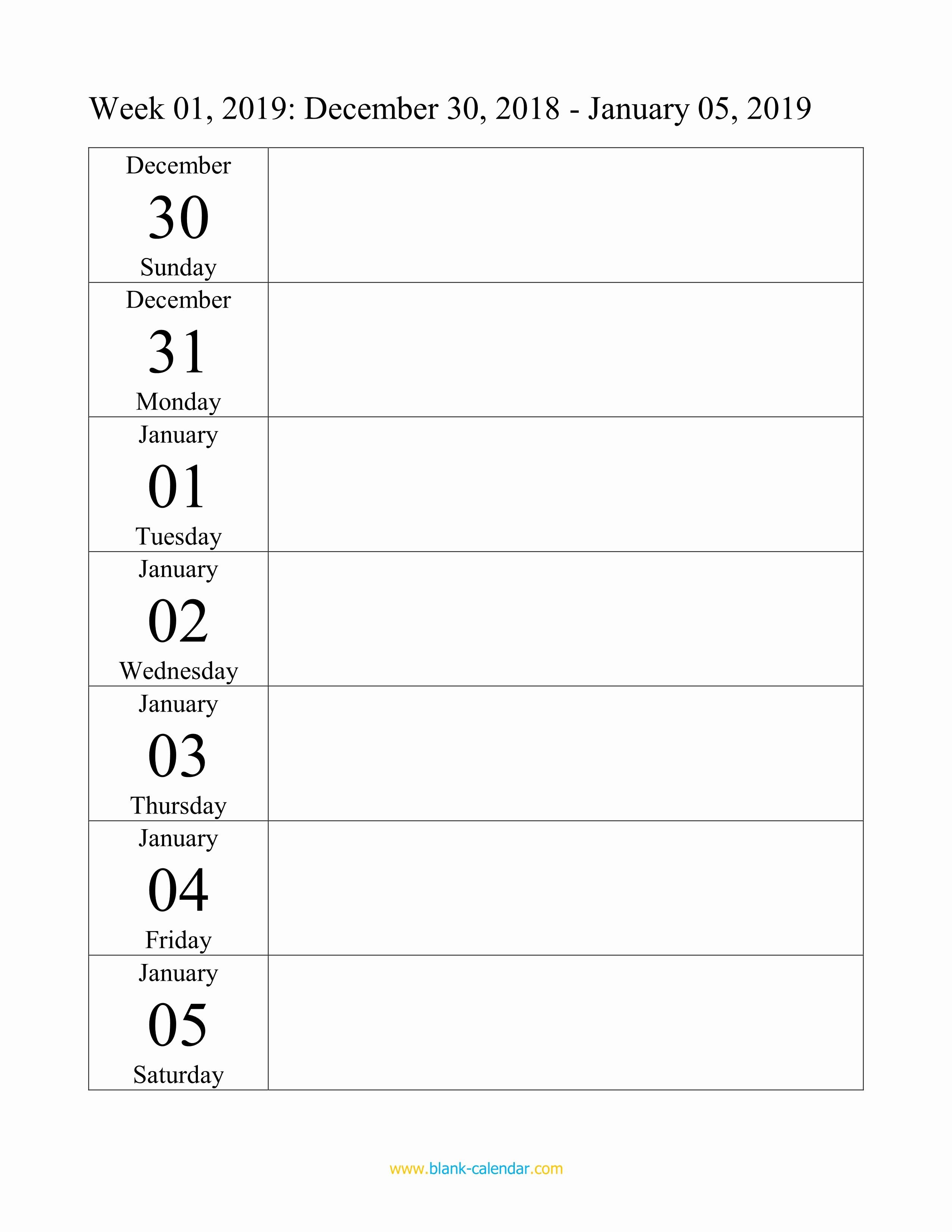 Free Printable Weekly Calendar 2019 Fresh Weekly Calendar 2019 Word Excel Pdf