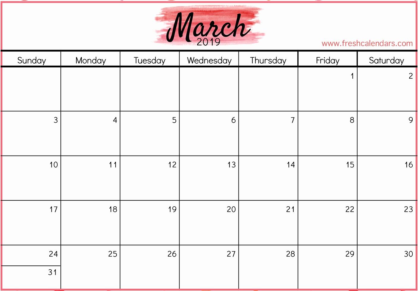 Free Printable Weekly Calendar 2019 Inspirational Printable March 2019 Calendar Fresh Calendars