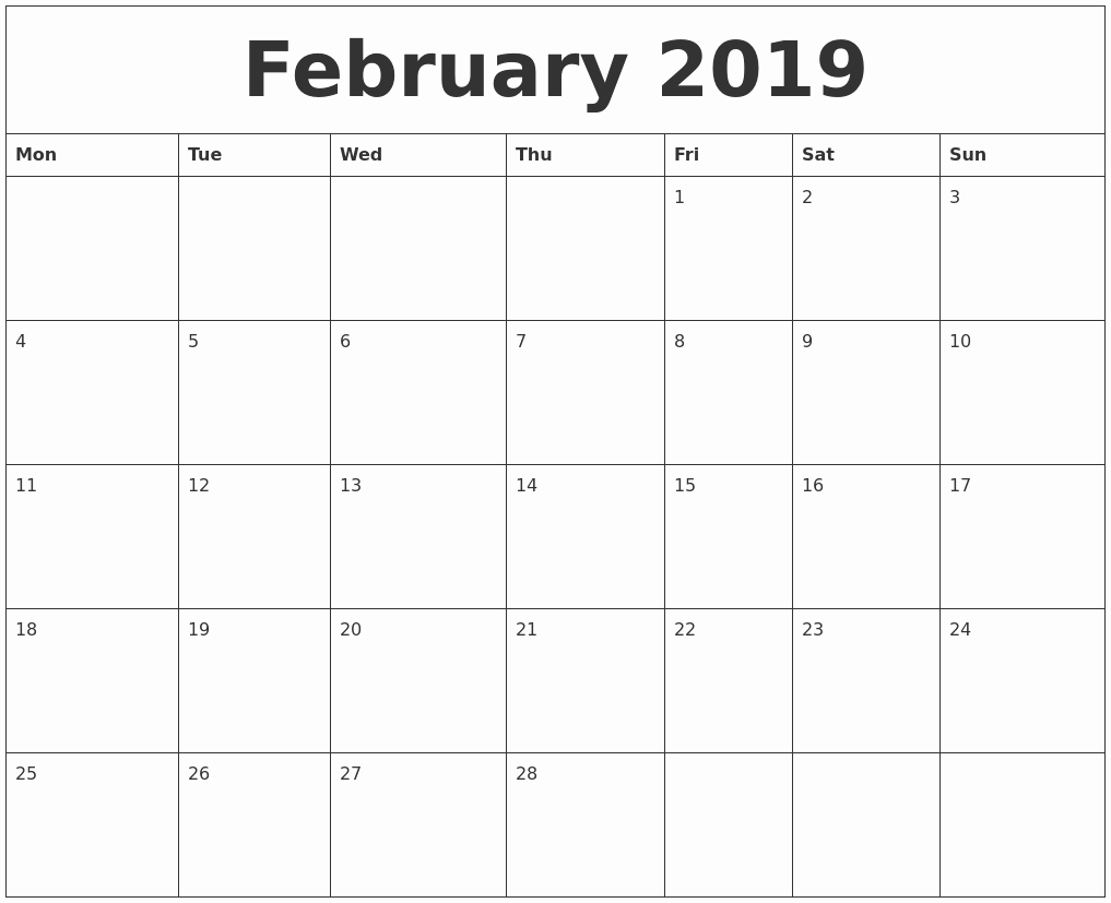 Free Printable Weekly Calendar 2019 Lovely February 2019 Free Printable Monthly Calendar