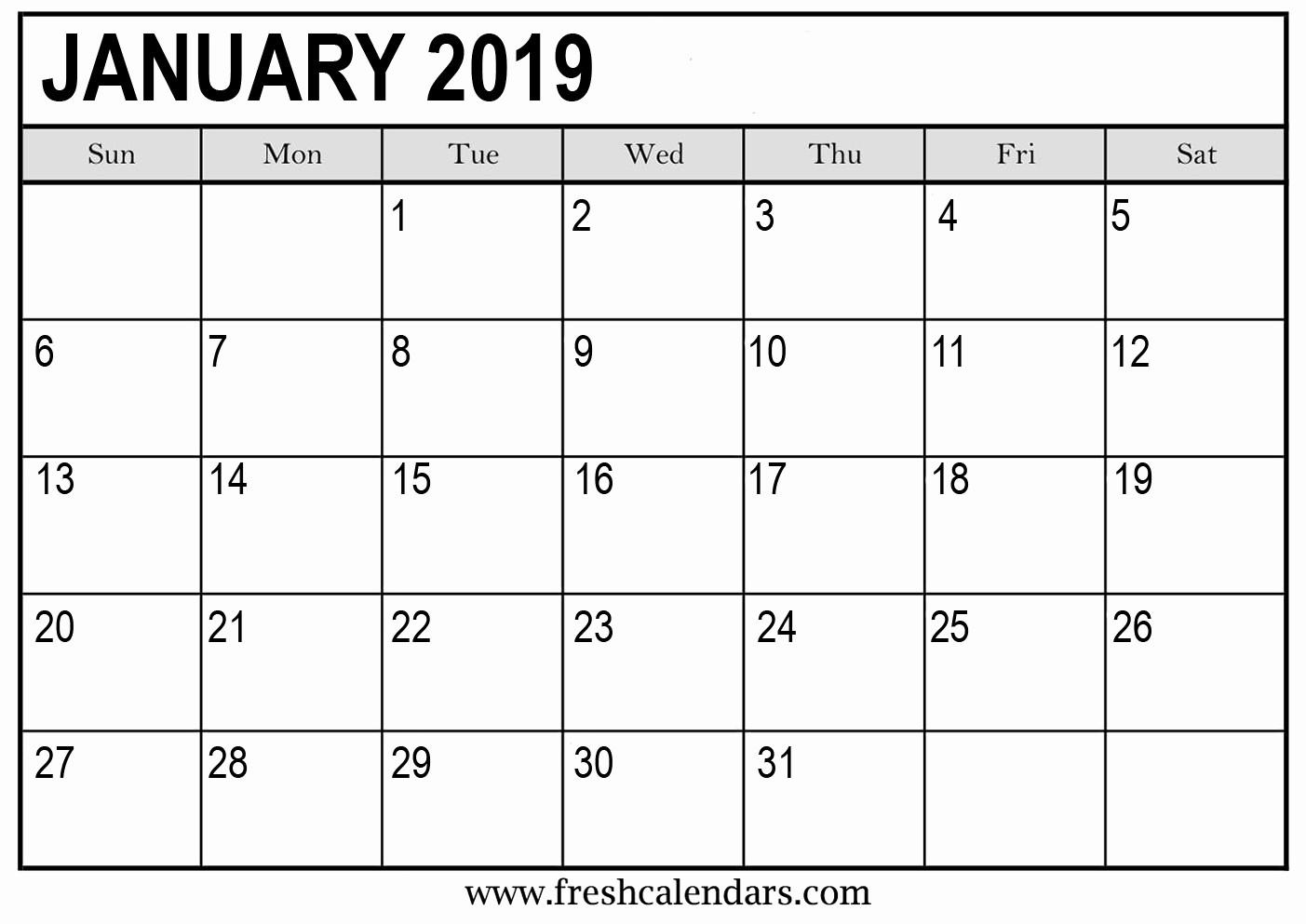 Free Printable Weekly Calendar 2019 Lovely Printable January 2019 Calendar Fresh Calendars
