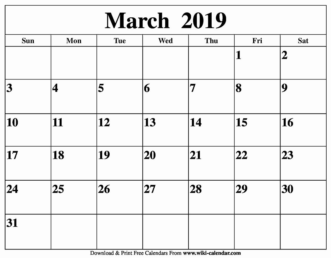 Free Printable Weekly Calendar 2019 Luxury Blank March 2019 Calendar Printable