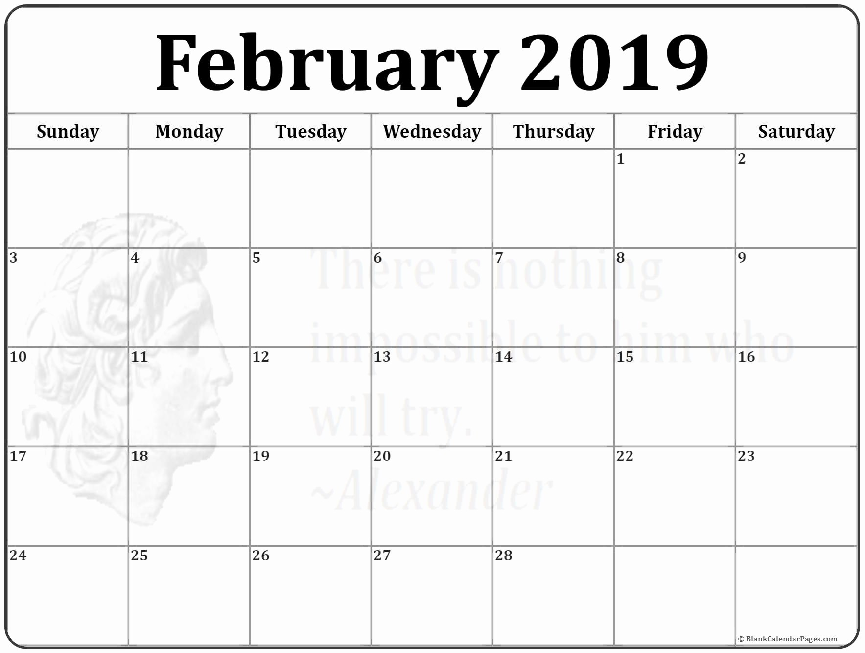 Free Printable Weekly Calendar 2019 Luxury February 2019 Calendar