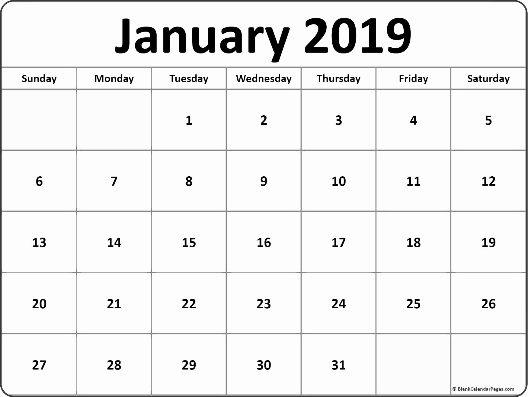 Free Printable Weekly Calendar 2019 New January 2019 Blank Calendar Templates