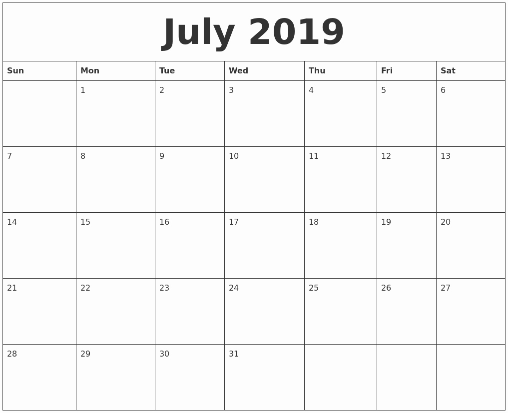 Free Printable Weekly Calendar 2019 New July 2019 Free Printable Monthly Calendar