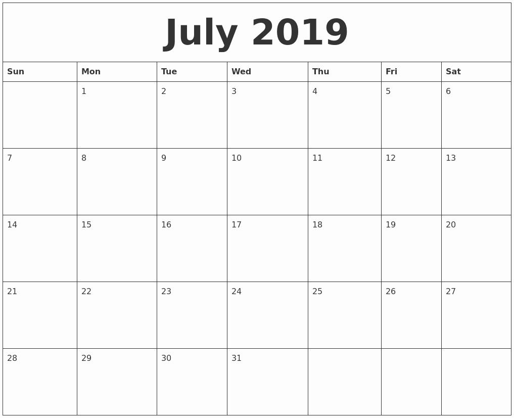 Free Printable Weekly Calendar 2019 New July 2019 Free Printable Monthly Calendar